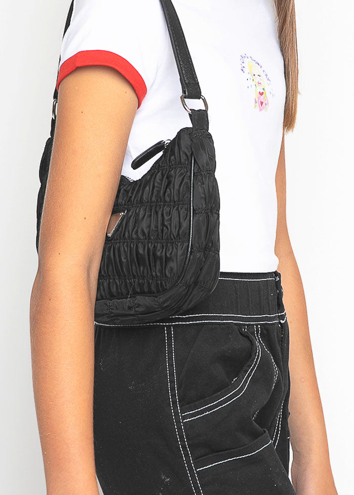Black Ruched Nylon Shoulder Bags