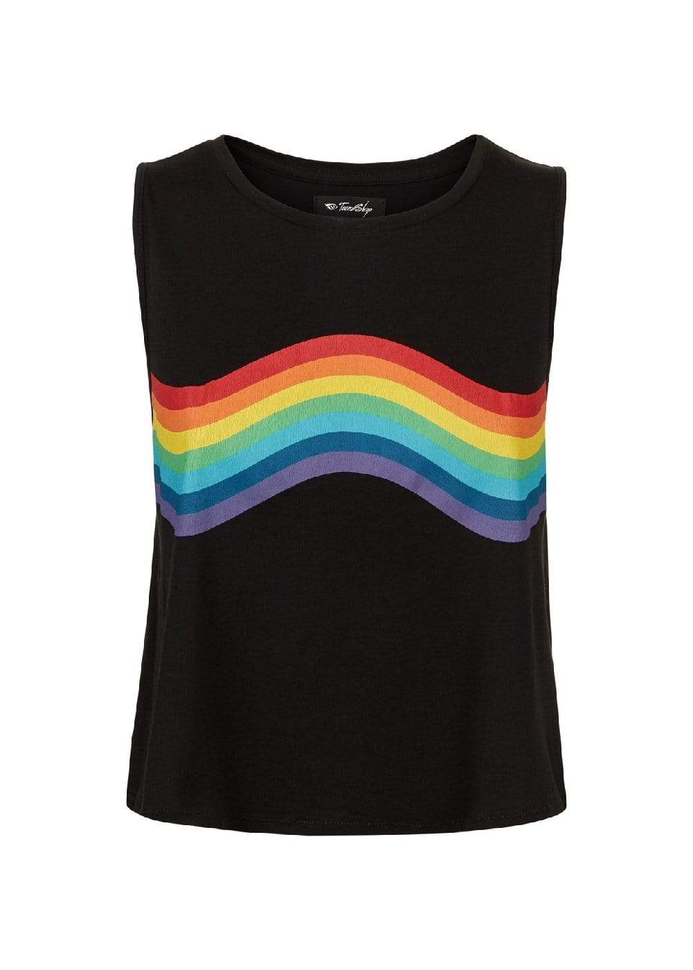 Teenzshop  Girls Black Rainbow Tank Top