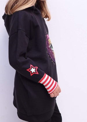 Girls Black Longline Sequin Eye Hoodie-TeenzShop