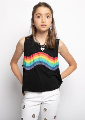 Girls Black Rainbow Muscle T