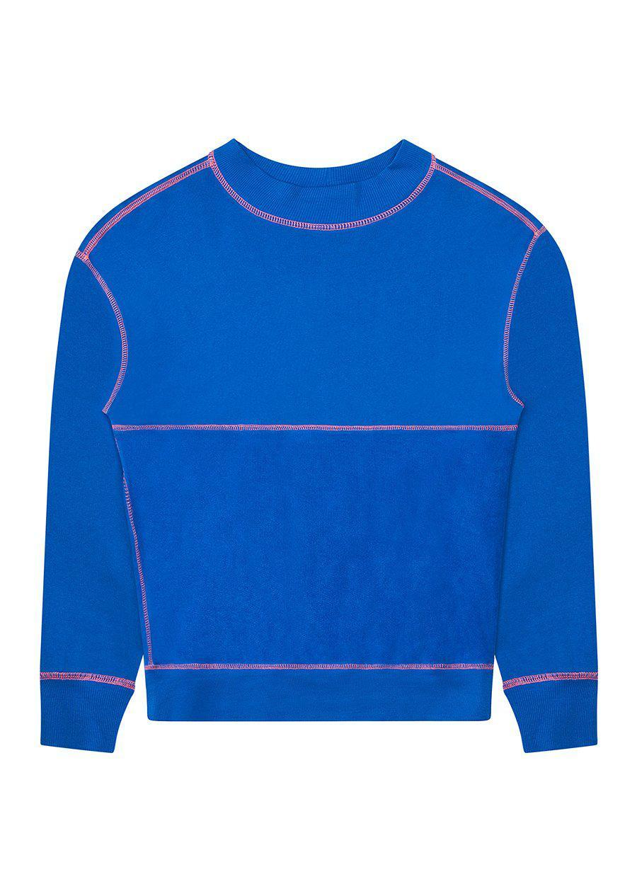 Boys Contrast Stitch Electric Blue Sweatshirt
