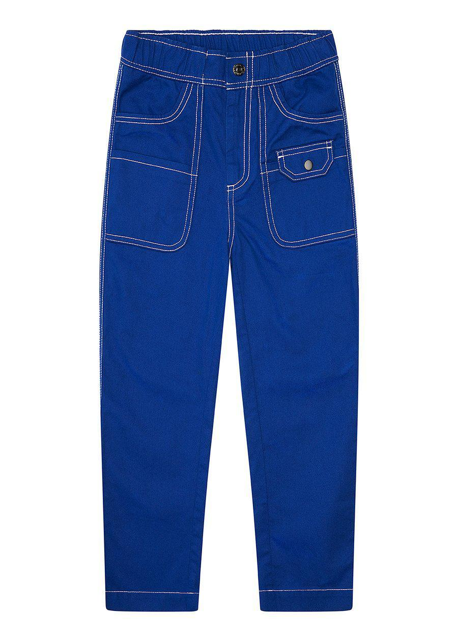 Boys Royal Blue Contrast Stitch Skater Trouser-TeenzShop