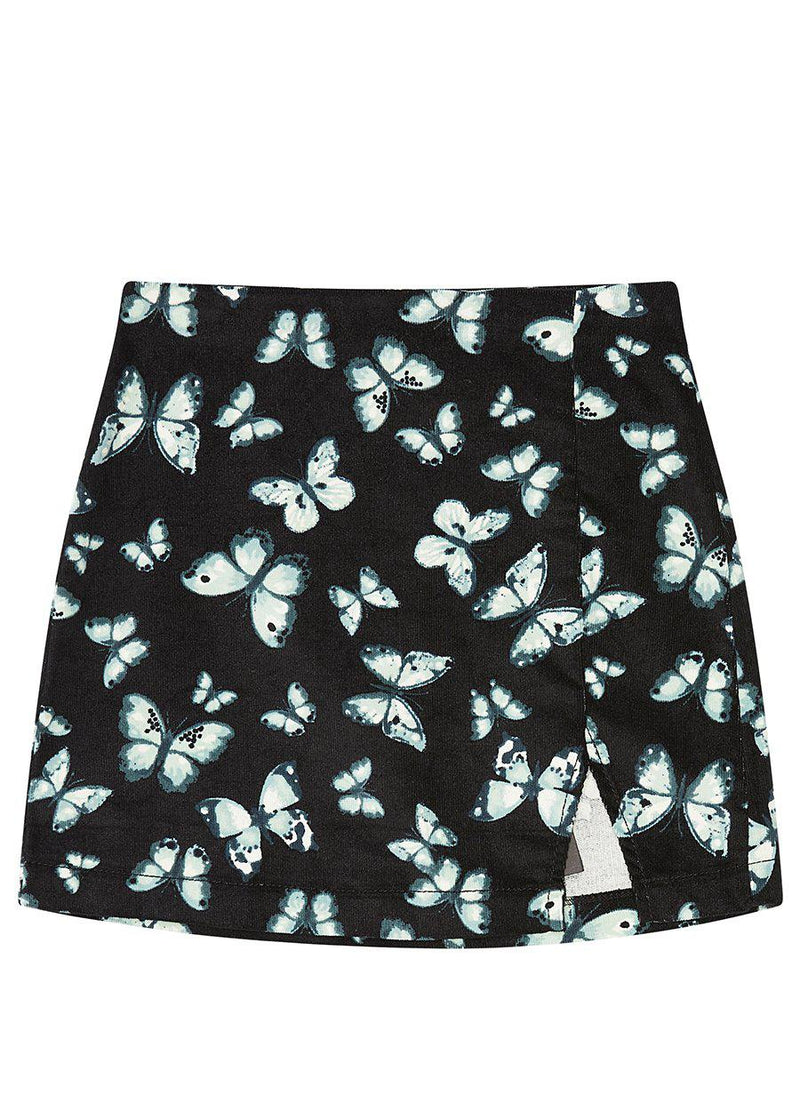 Butterfly All Over Print Corduroy Slit Skirt