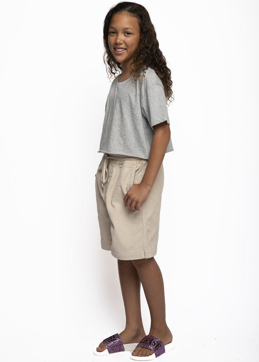 Girls Cream Corduroy Rib Shorts-TeenzShop