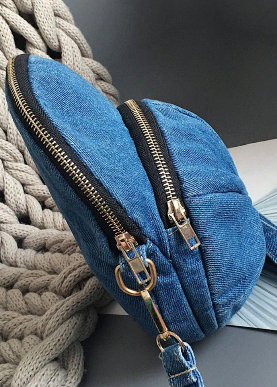 Dark Blue Denim Cap Bag