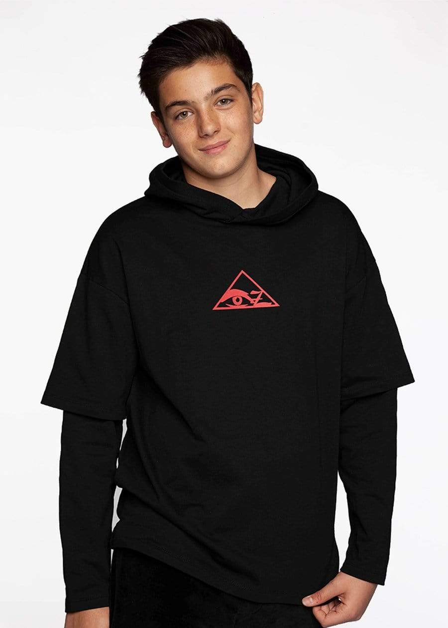 TeenzShop  Boys Double Sleeve Illuminati Hoodie
