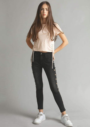 Teenzshop  Girls Black Skinny Jeans with Side Eyelets