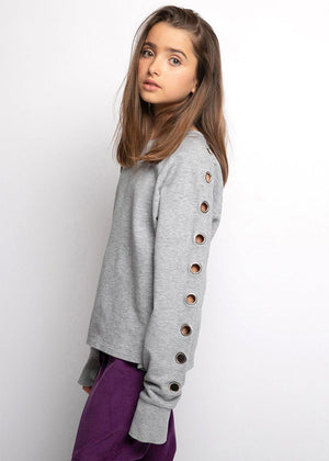 Girls Grey Sweatshirt With Eyelets
