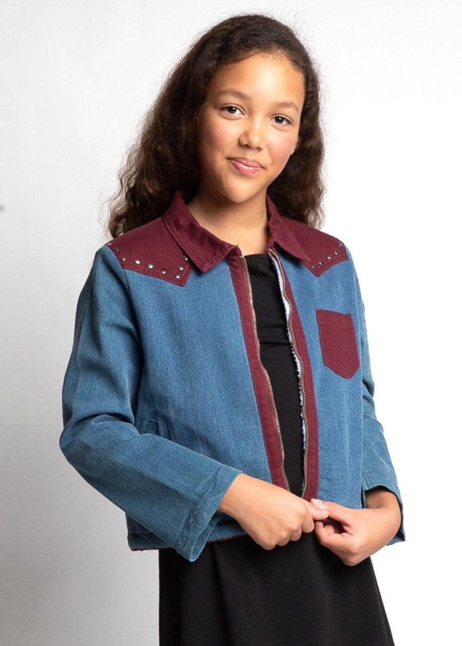 Girls Blue Rodeo Retro Jacket-TeenzShop