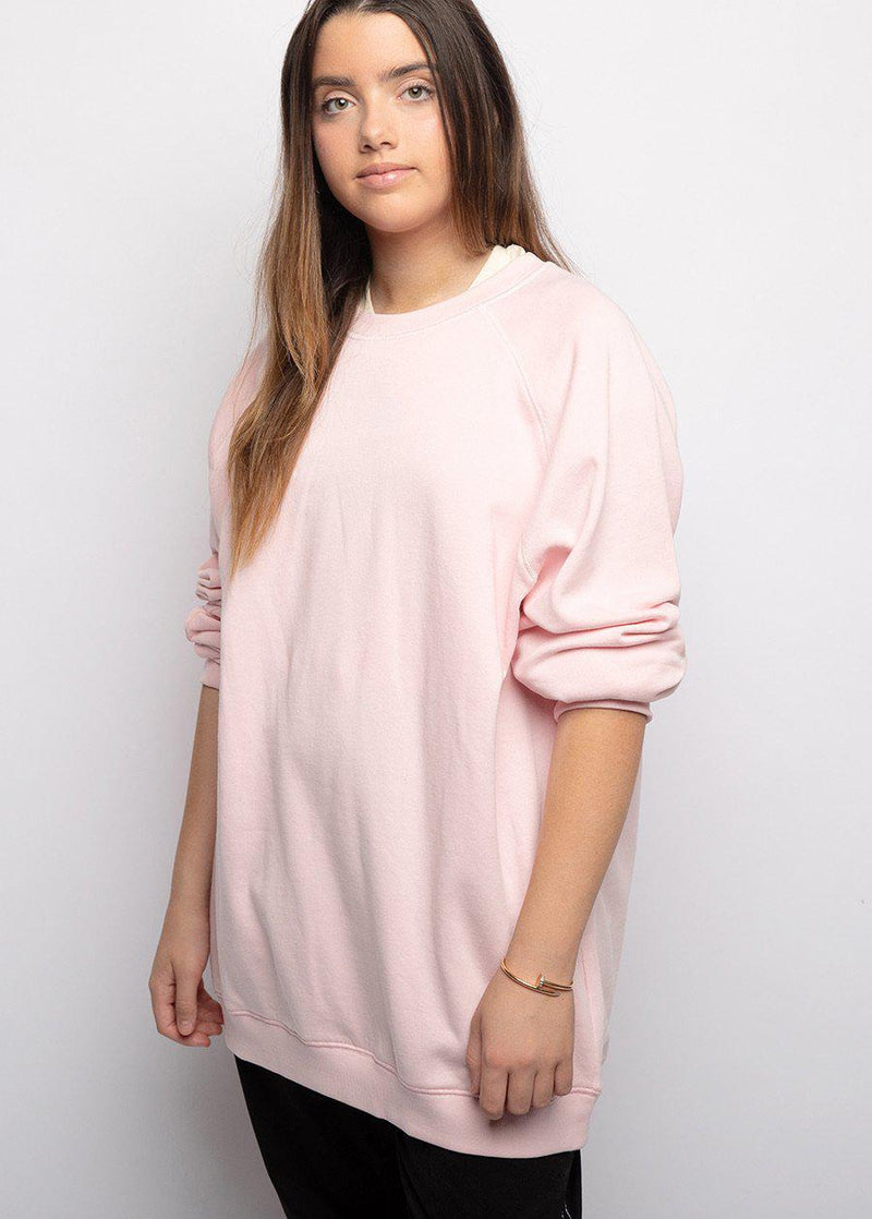 Pink Sweatshirt with Contrast Stitching