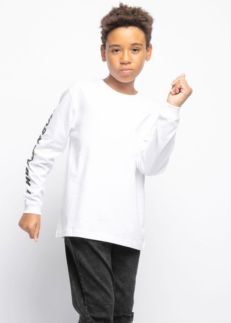 Boys Long Sleeve Slogan T-Shirt White-TeenzShop