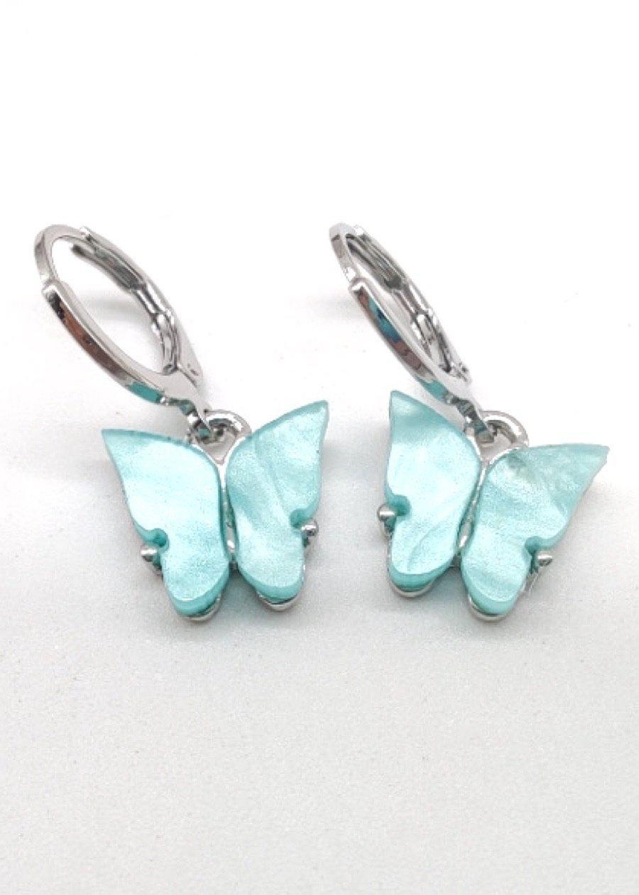 Blue Acrylic Butterfly Drop Earrings-TeenzShop