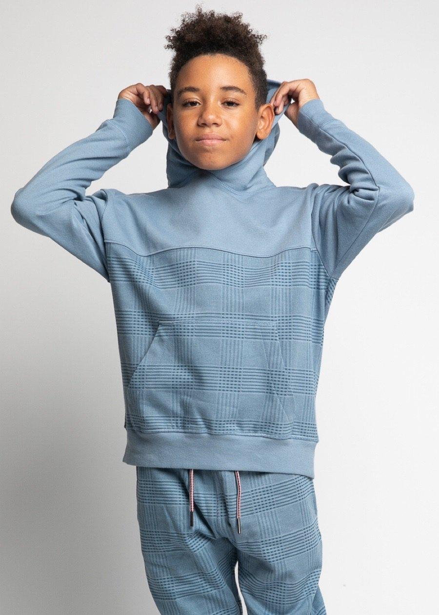 Boys Blue Checker Hoodie-TeenzShop