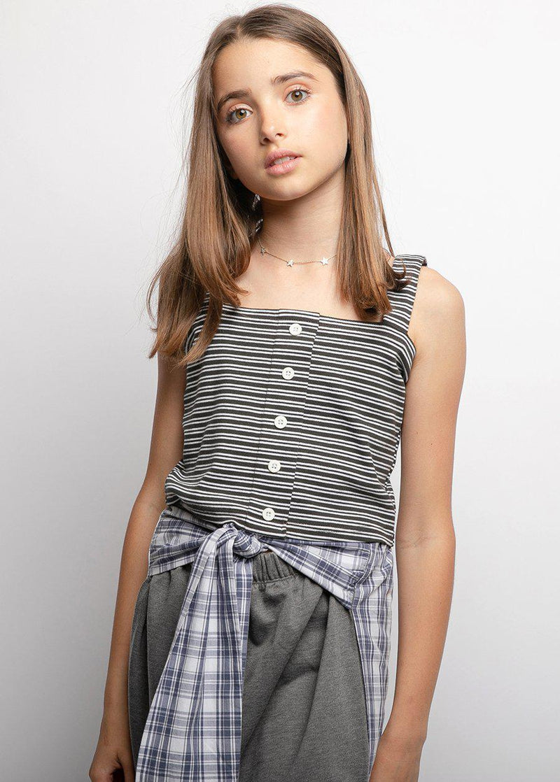 Girls Black & White Striped Ribbed Stretch Crop-Top-SUSTAINABLE FABRIC