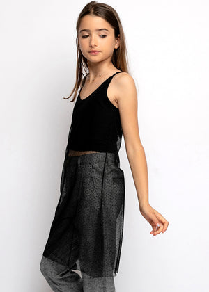 Girls Black Long Mesh Top