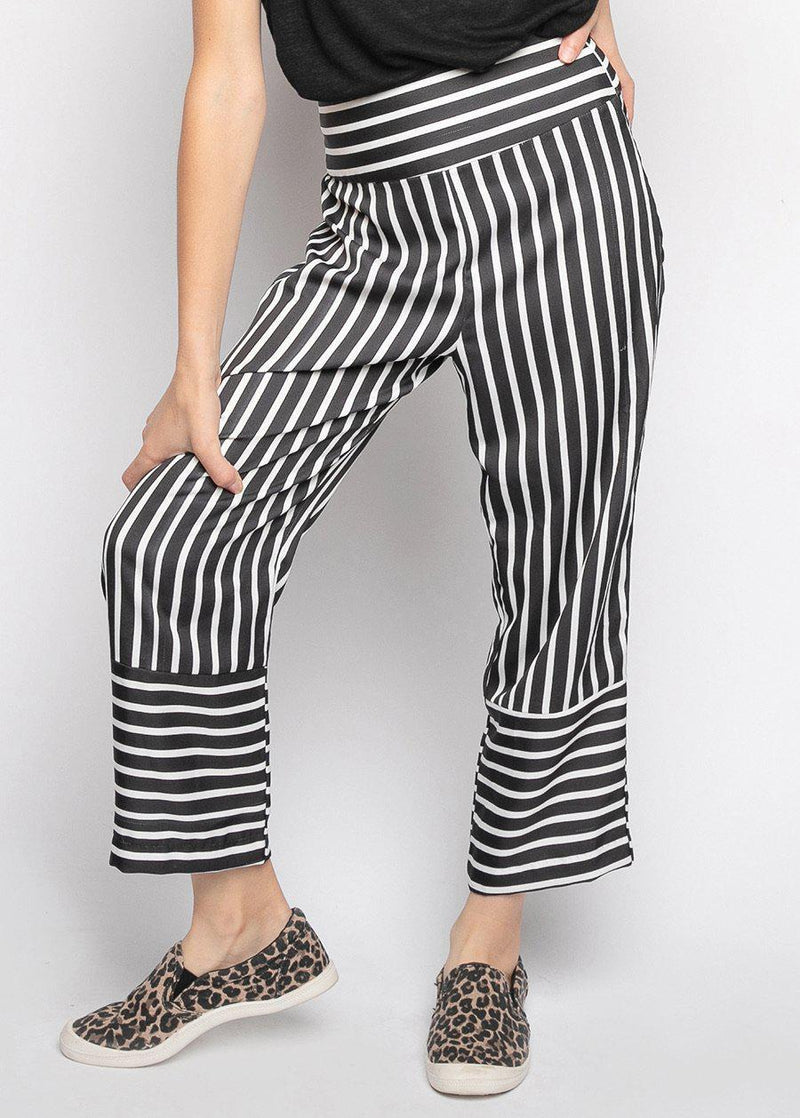 Girls Black White Wide Leg Striped Pants