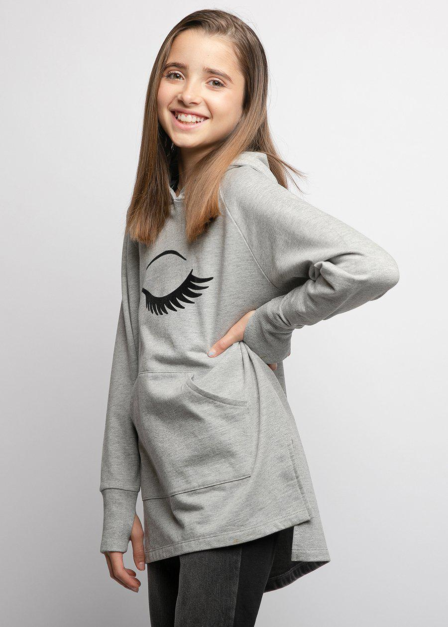 Girls Light Grey Longline Wink Hoodie