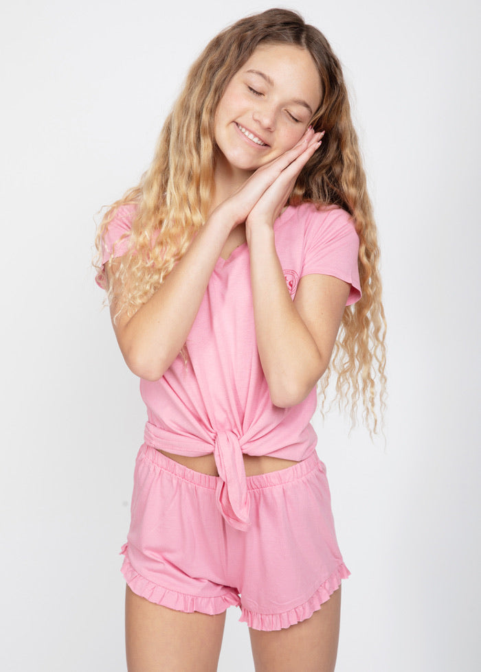 Girls Light Pink Pajama Shorts Set