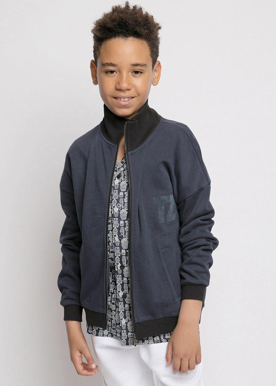 Boys Navy Zip Up Cardigan-TeenzShop
