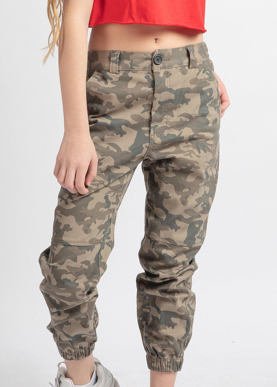 Girls Camo Cargo Trousers-TeenzShop