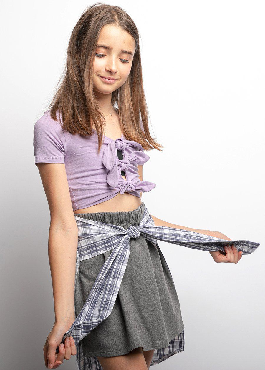 Girls Grey Sweat Skirt With Shirt Wrap