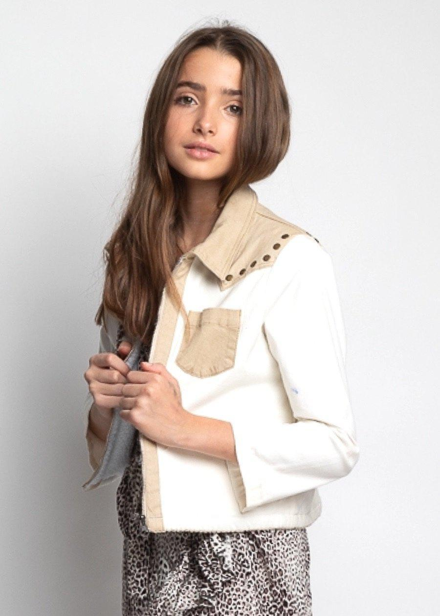 Girls Cream Rodeo Retro Jacket-TeenzShop
