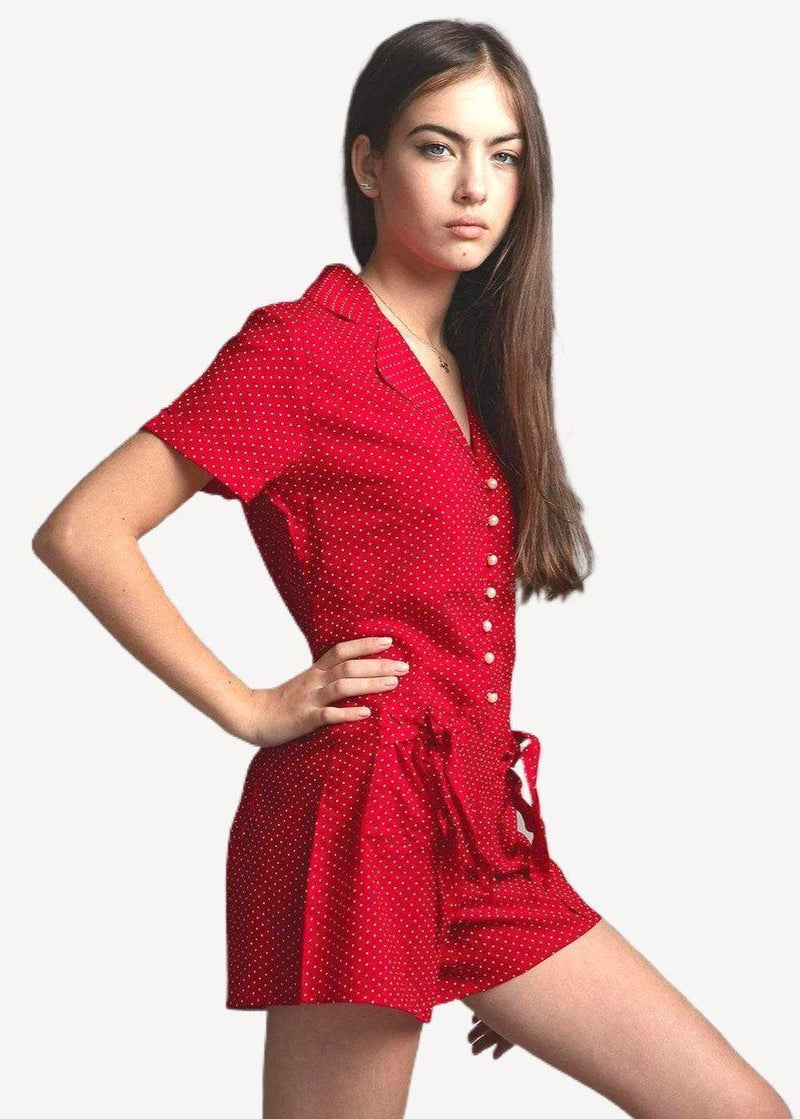 Girls Red Polka Romper-SUSTAINABLE FABRIC