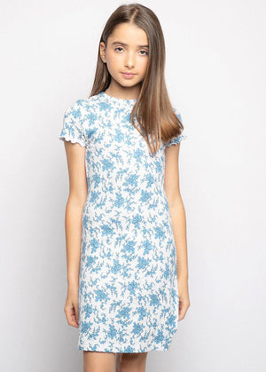 Blue Floral All Over Print Waffle Dress