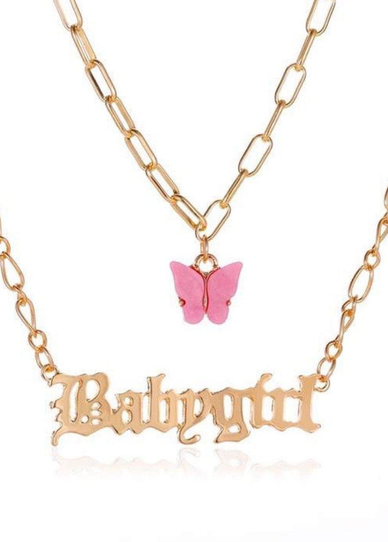 Pink butterfly Babygirl necklace