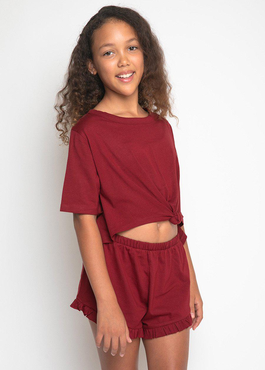 Girls Burgundy Pyjama Shorts Set-TeenzShop