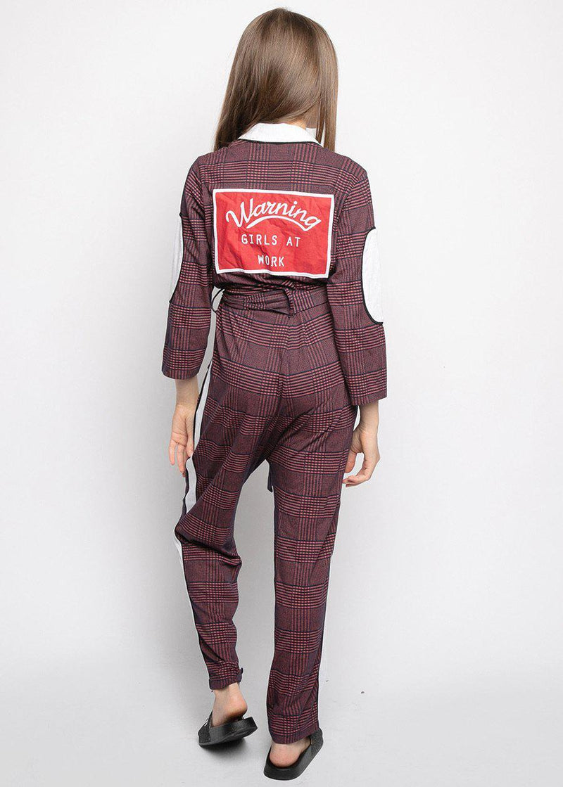 Girls Burgundy Checker Boilersuit With Contrast Stripe