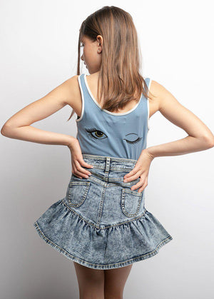 Girls Stonewash Denim Frill Skirt-TeenzShop