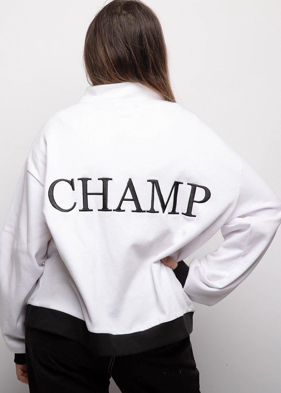 Girls White Half Zip Champ Sweatshirt