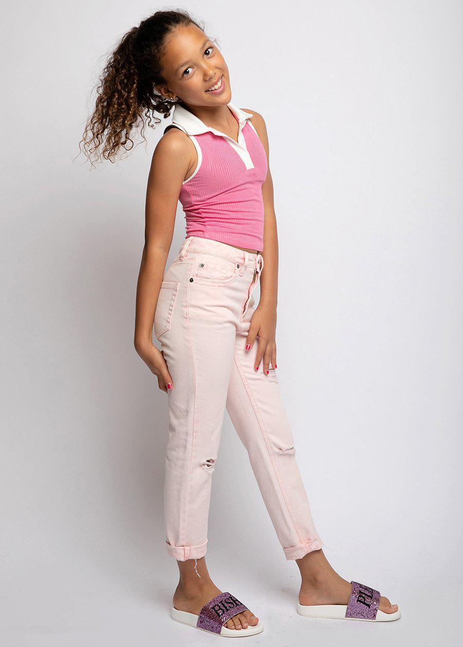 Girls Pink Stone-Washed Thunderbolt Mom Jeans-TeenzShop