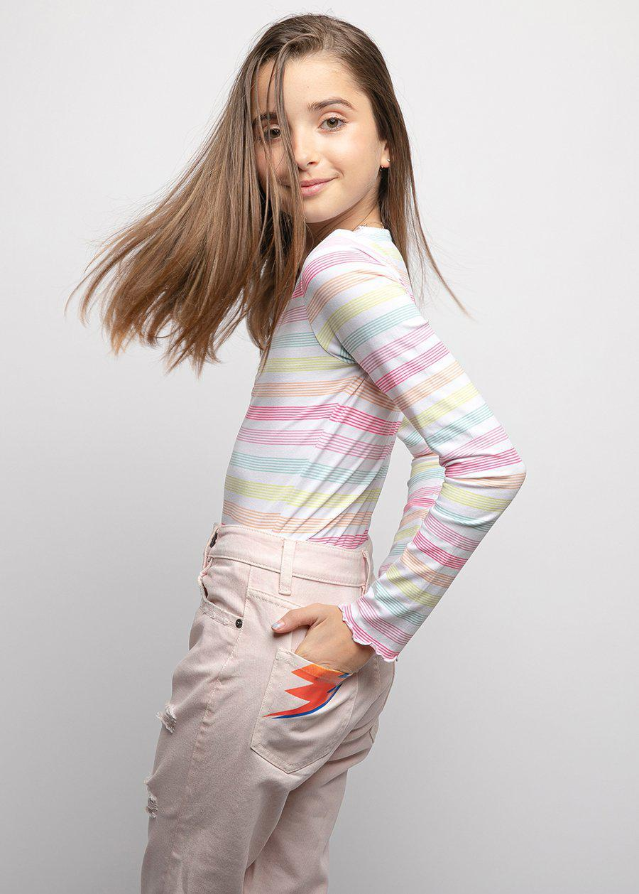 Girls Candy Stripes Elastic Long Sleeve Ballet Top - SUSTAINABLE FABRIC