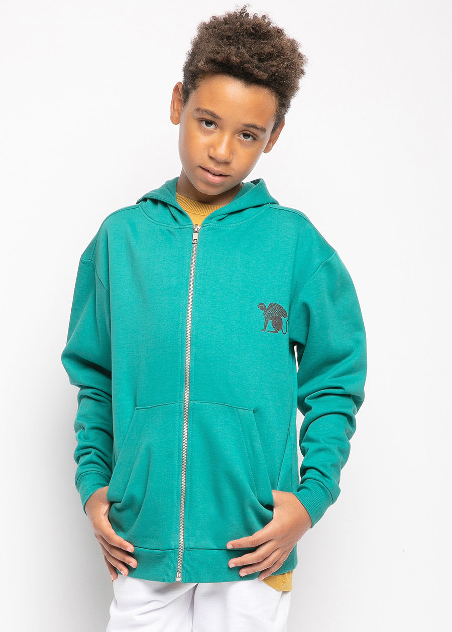Boys Green Full-Zip  Hoodie