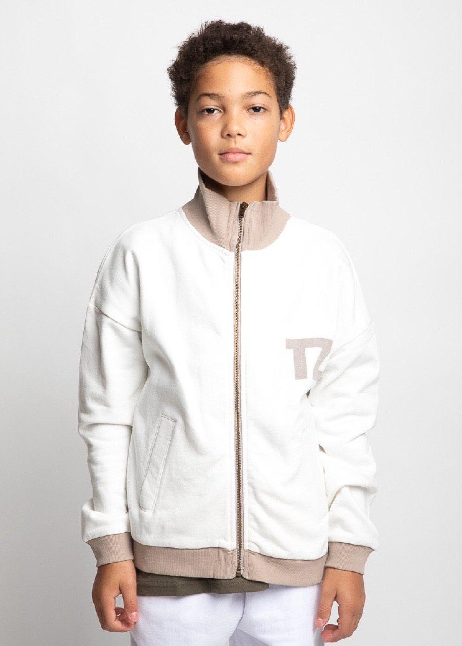 Boys White Zip Up Cardigan-TeenzShop