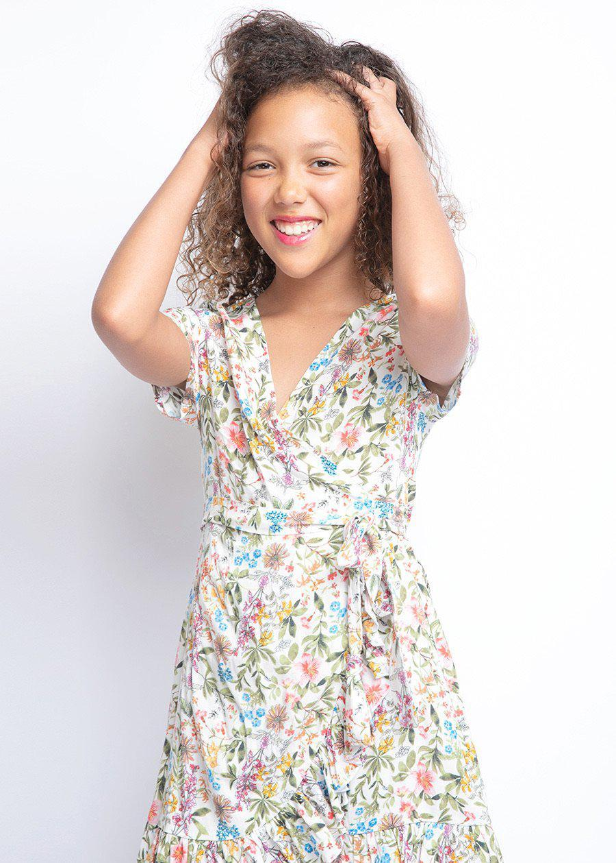 Girls White Floral Print Wrap Frill Dress-TeenzShop