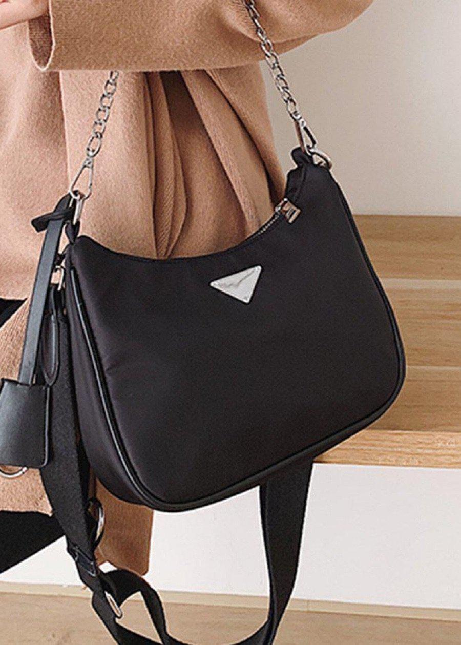 Small Black Nylon Crossbody Handbag