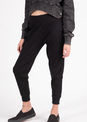 Girls Black Teenzshop Basic Tapered Leg Joggers-TeenzShop