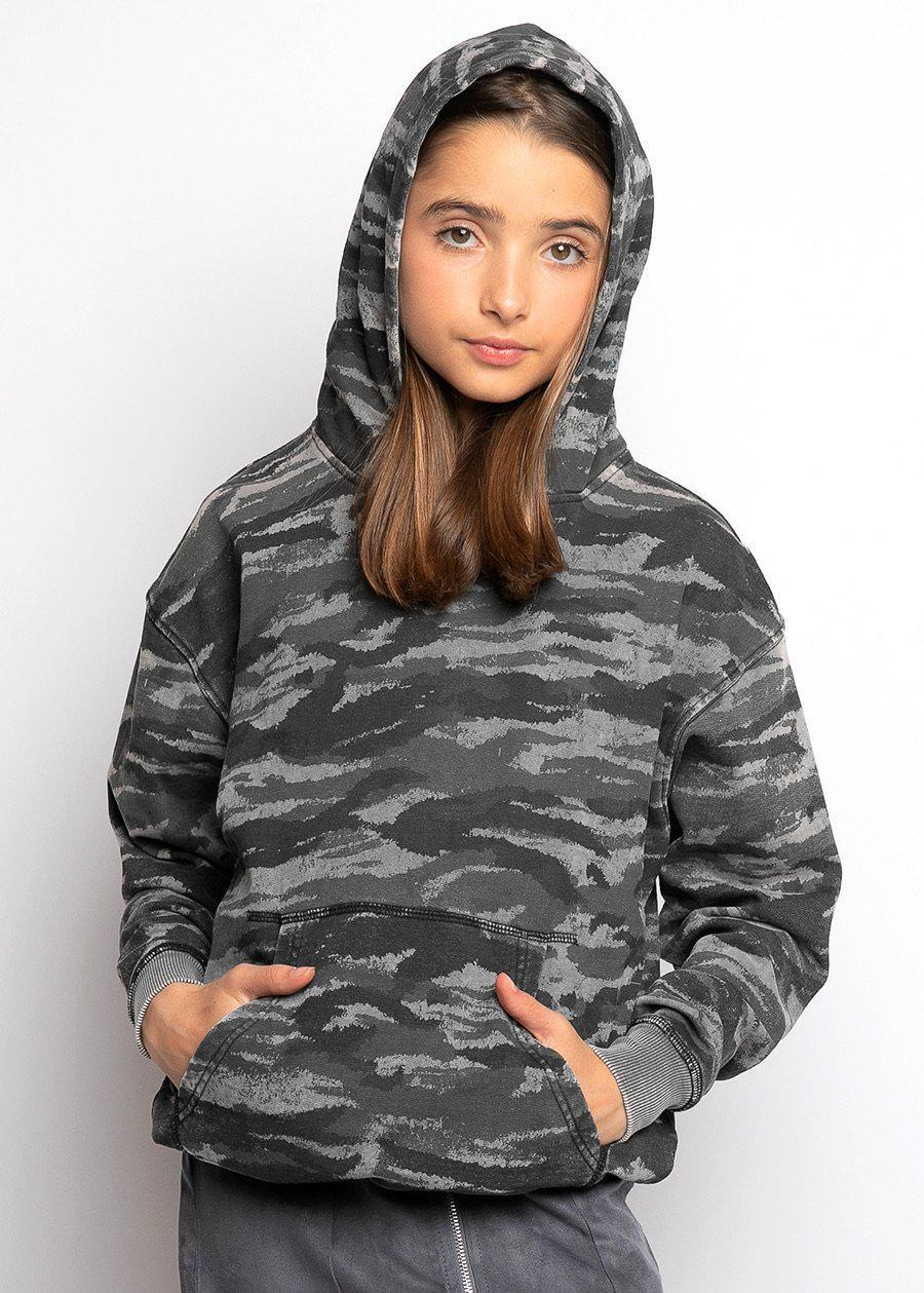 Girls Grey Distressed Camo Hoodie