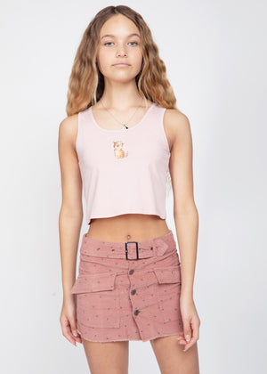 Girls Pink Belted Button Down Mini Skirt-SUSTAINABLE FABRIC