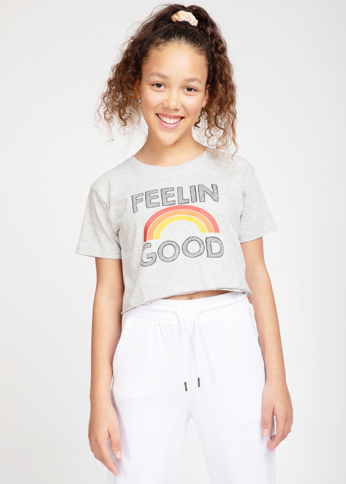 Girls Grey Feelin Good Cropped T-shirt