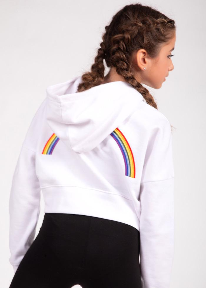 Girls White Cropped Rainbow Hoodie-TeenzShop