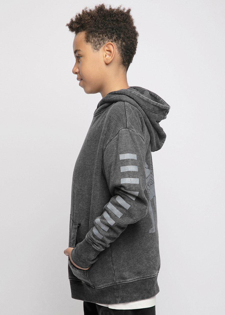 Boys Dark Grey Distressed Graphic Hoodie-TeenzShop