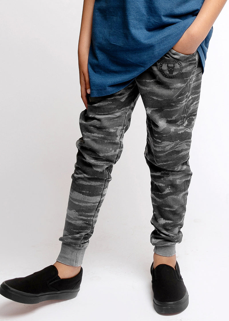 Boys Basic Grey Camo Sweatpants