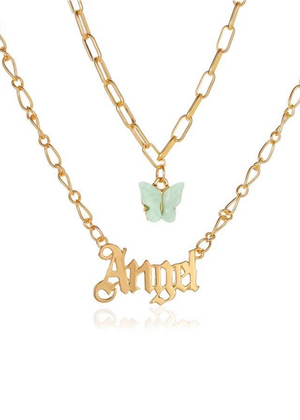 Green Butterfly & Angel Necklace-TeenzShop