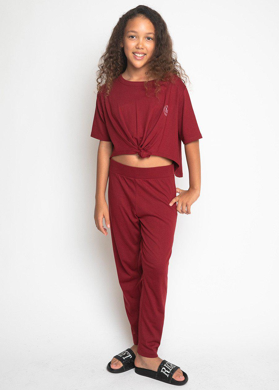 Girls Burgundy Pyjama Set-TeenzShop