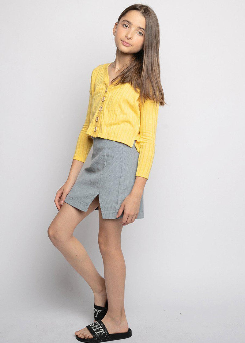 Girls Light Blue Corduroy Slit Skirt-TeenzShop