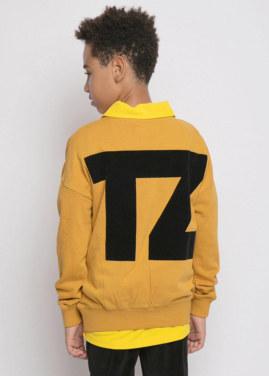 Boys Mustard TZ Logo Flocked Sweatshirt-TeenzShop